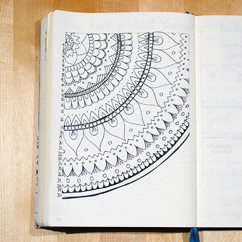 Temperaturmandala Bullet Journal fertig